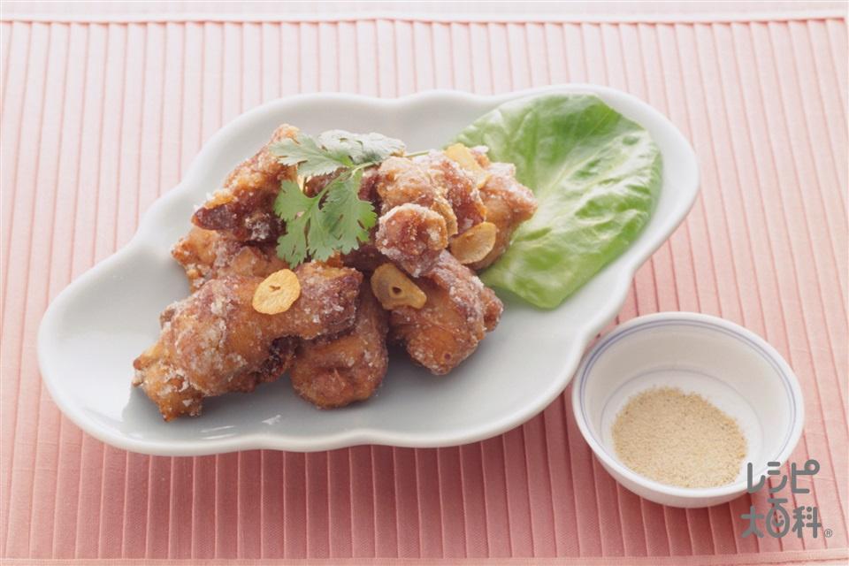中国風鶏のから揚げ(鶏骨つきもも肉+片栗粉を使ったレシピ)