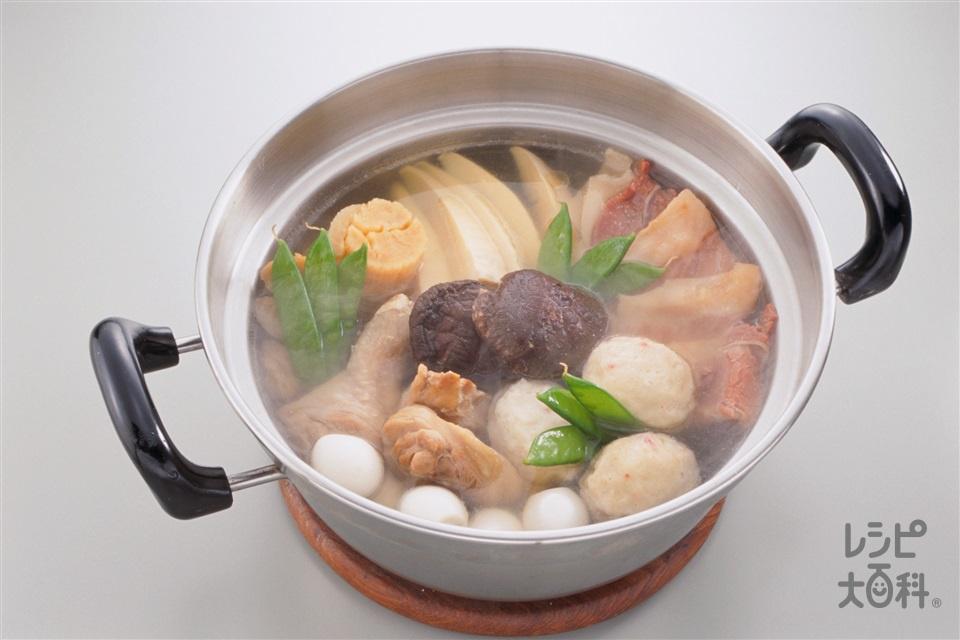 中国風鍋(鶏もも肉+ゆでたけのこを使ったレシピ)