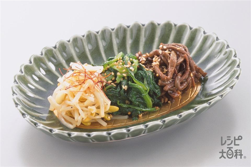ナムル(ほうれん草+ぜんまいの水煮を使ったレシピ)