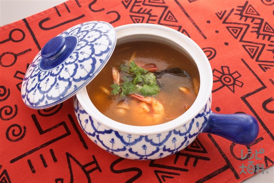 トムヤムクンスープ(えび+ふくろたけ水煮缶を使ったレシピ)