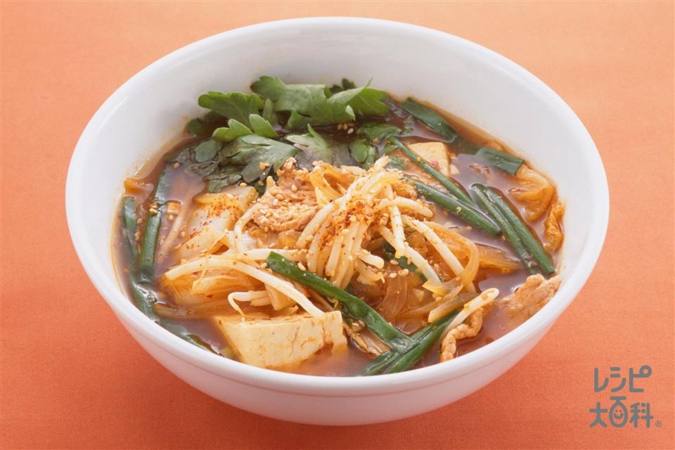 豆腐チゲ(木綿豆腐+もやしを使ったレシピ)