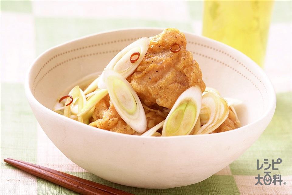 クイック!若鶏南蛮漬け(ねぎ+赤唐がらし(乾)を使ったレシピ)