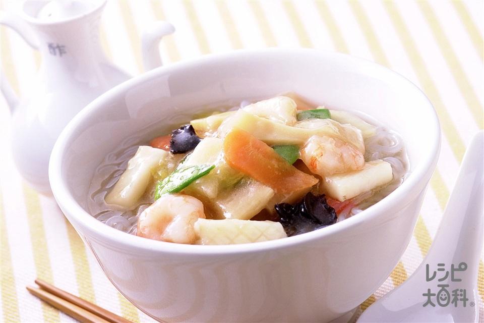 ヘルシー広東麺風(味の素冷凍食品KK「野菜たっぷり中華丼の具」(2個入り)+しらたきを使ったレシピ)