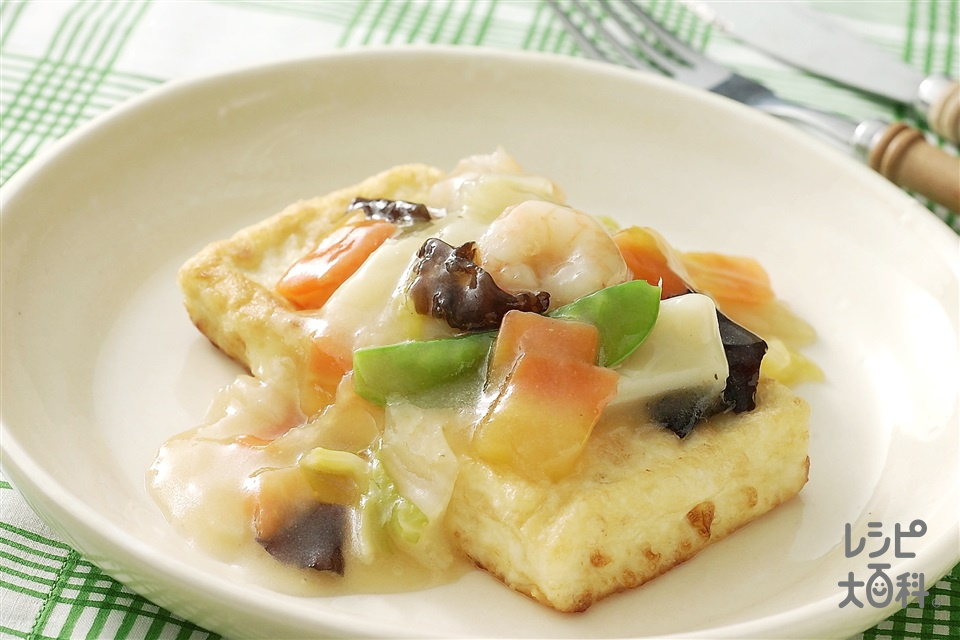中国風豆腐ステーキ(味の素冷凍食品KK「野菜たっぷり中華丼の具」(2個入り)+木綿豆腐を使ったレシピ)