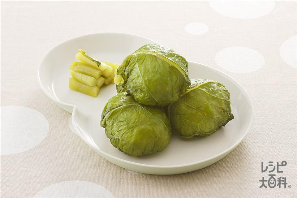 野沢菜漬け巻きおにぎり(ご飯+野沢菜の塩漬けを使ったレシピ)