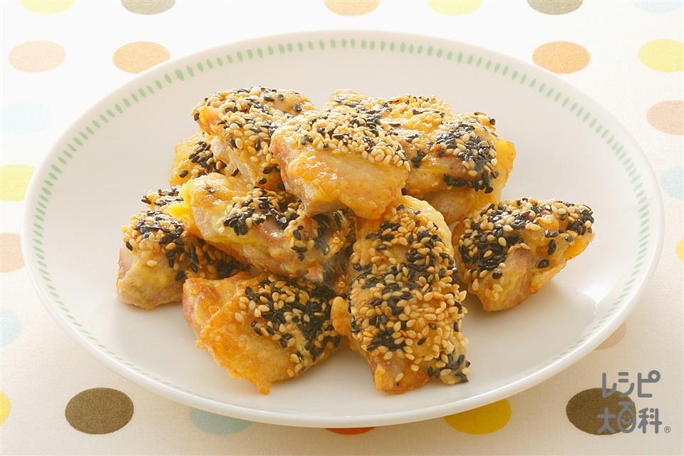 鶏肉のごまつきから揚げ風(鶏もも肉+溶き卵を使ったレシピ)