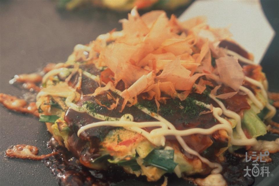 にら入りお好み焼き(豚バラ薄切り肉+キャベツを使ったレシピ)