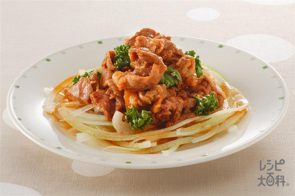 豚肉のハンバーグ味(豚こま切れ肉+玉ねぎを使ったレシピ)