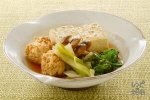 鶏ひき肉の肉豆腐 きのこ入り