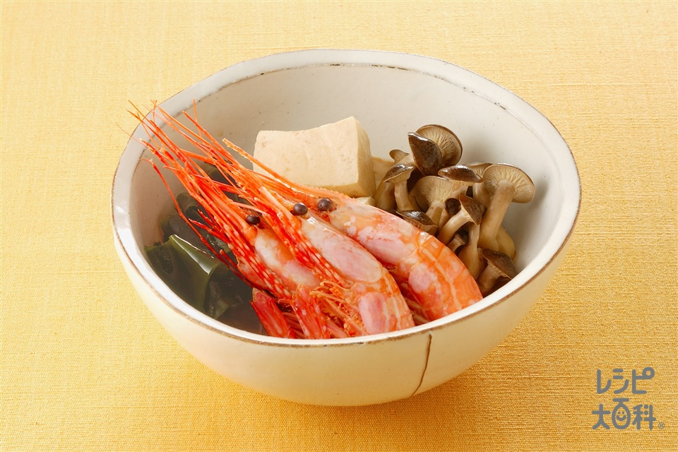 えびと豆腐の炊き合わせ(木綿豆腐+しめじを使ったレシピ)