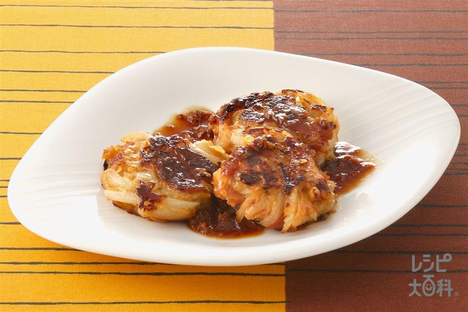 玉ねぎたっぷりつくねの梅照り焼き(玉ねぎ+鶏ひき肉を使ったレシピ)