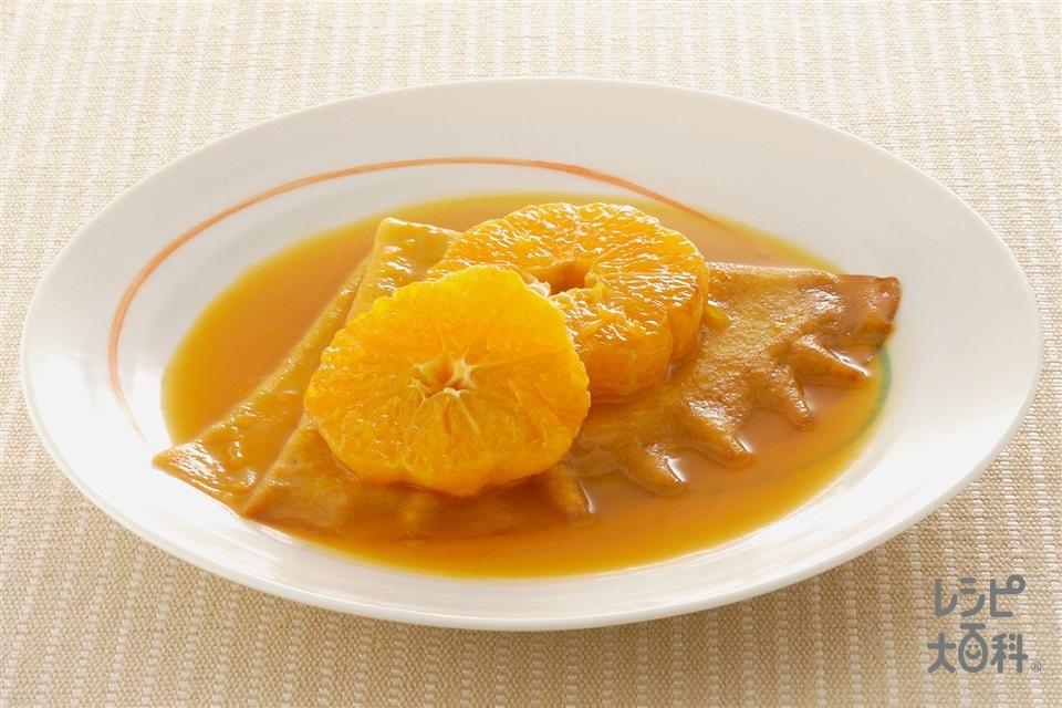 みかんのホットクレープ(みかん+みかんジュースを使ったレシピ)