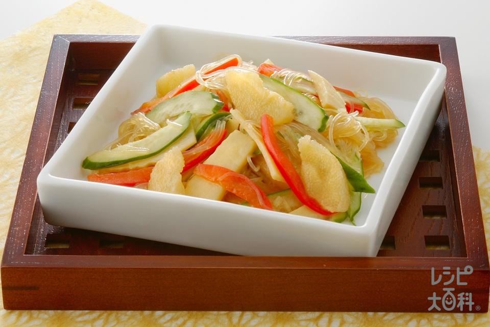 かずのこと春雨の中華サラダ(きゅうり+ゆでたけのこを使ったレシピ)