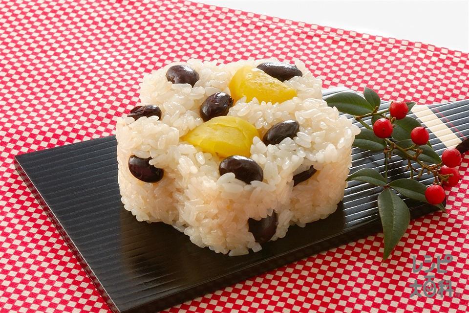 黒豆と栗のおこわ(もち米+栗の甘露煮を使ったレシピ)