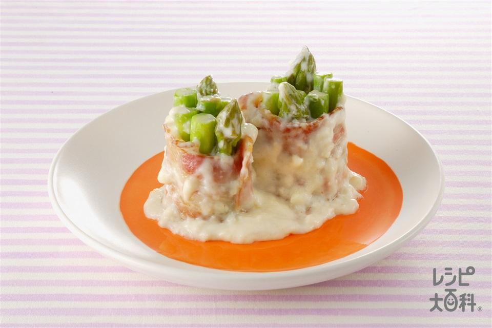 グリーンアスパラのクリーム煮  (グリーンアスパラガス+ベーコンを使ったレシピ)