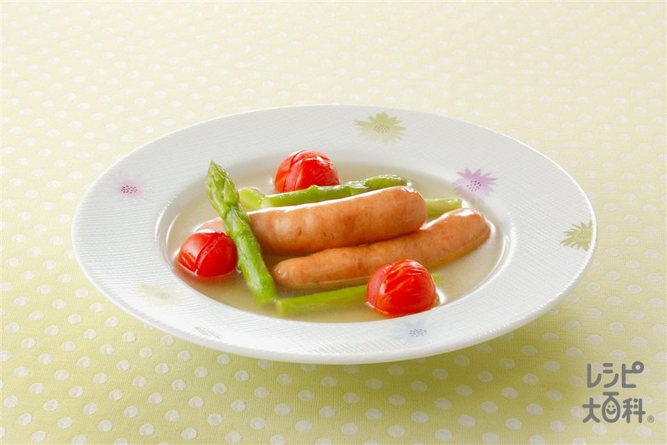 ソーセージのスープ煮(ソーセージ+グリーンアスパラガスを使ったレシピ)