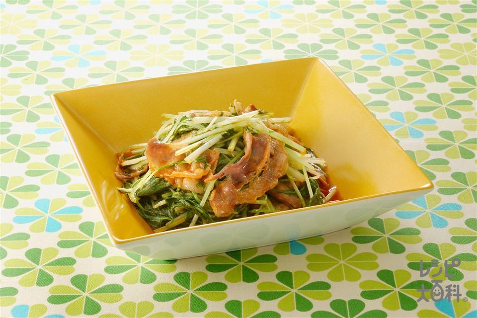 水菜と豚肉のコチュジャン炒め(豚バラ薄切り肉+水菜を使ったレシピ)