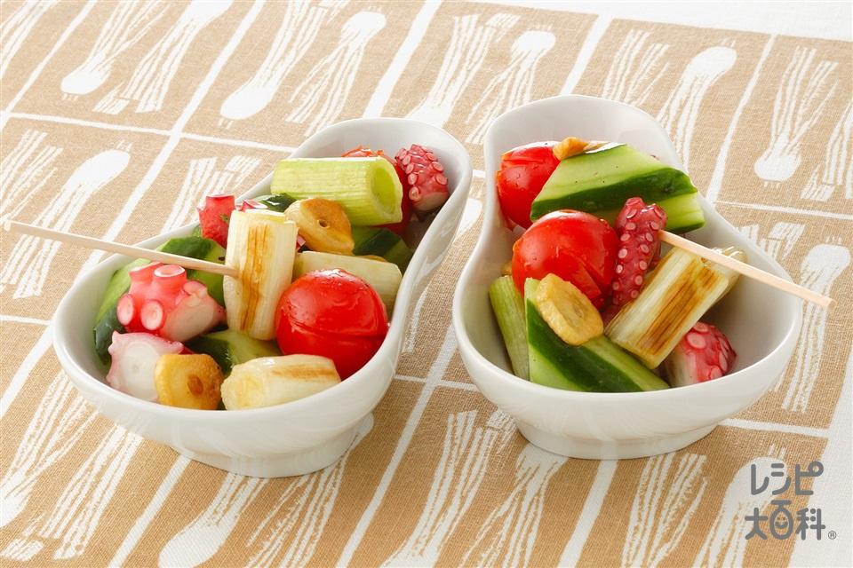 たこと焼きねぎのにんにく風味マリネ(ゆでだこ+ミニトマトを使ったレシピ)