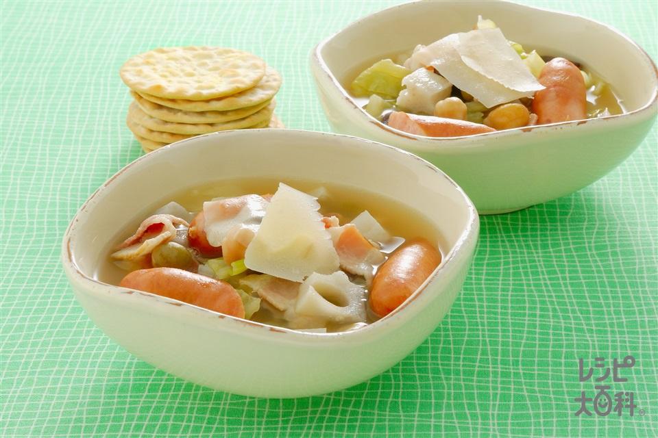 豆とれんこんのスープ(れんこん+キャベツを使ったレシピ)