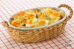 パスタとゆで卵のマヨネーズ焼き