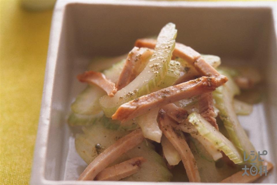 セロリとチャーシューの香りあえ(セロリ+焼き豚を使ったレシピ)