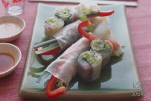 たいの刺身と野菜の生春巻