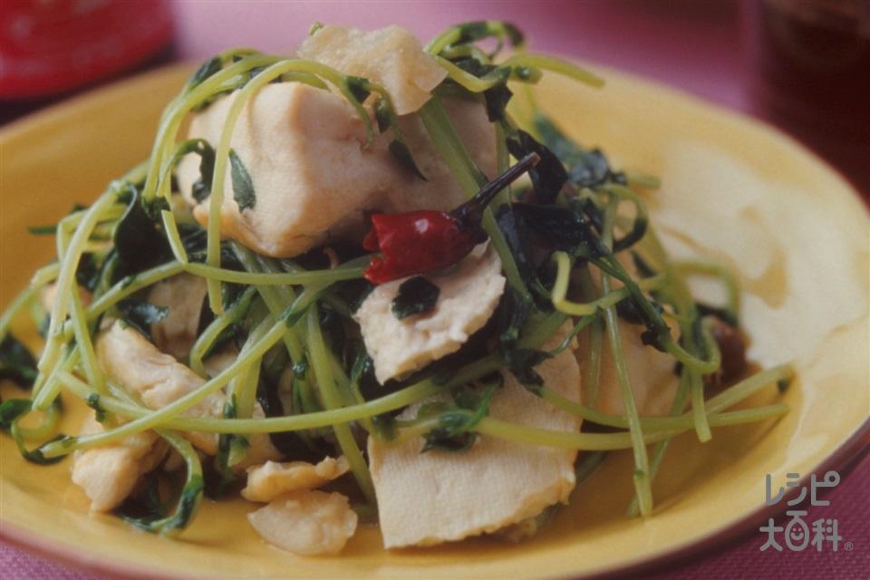 豆腐と豆苗の中華炒め(木綿豆腐+豆苗を使ったレシピ)