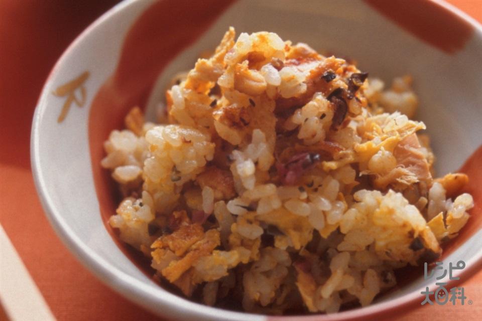 ツナとしば漬けの卵チャーハン(温かいご飯+ツナ缶を使ったレシピ)