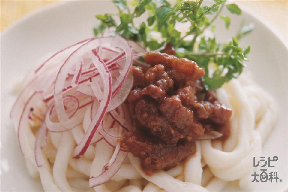 肉みそうどん(豚バラかたまり肉+ゆでうどんを使ったレシピ)