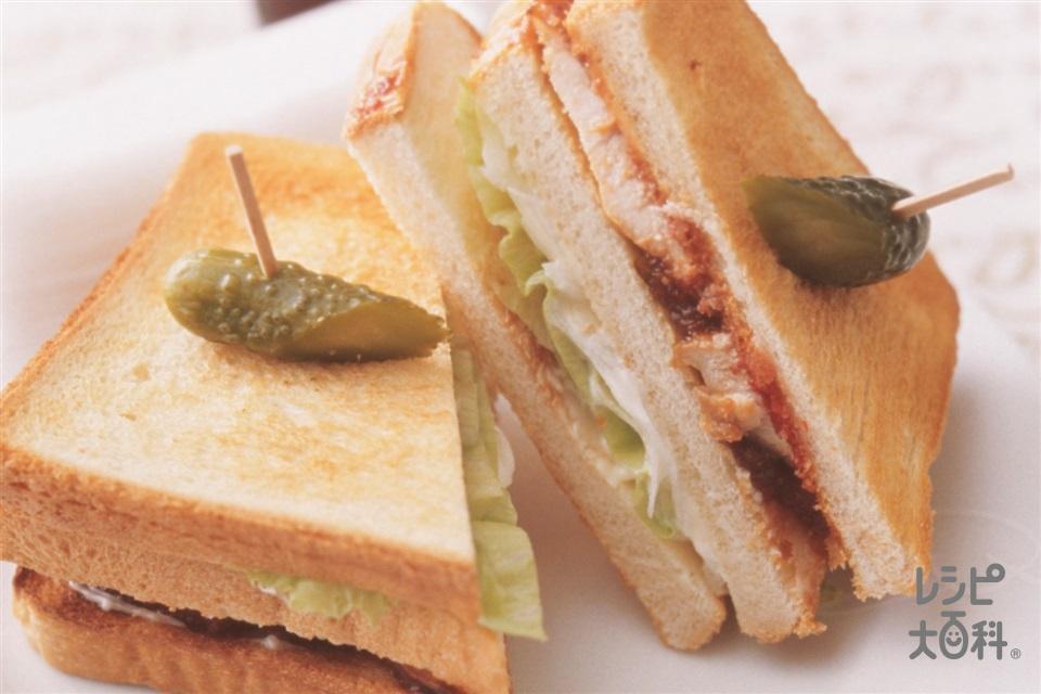 マーマレード焼きチキンのホットサンド(鶏むね肉+食パン8枚切りを使ったレシピ)