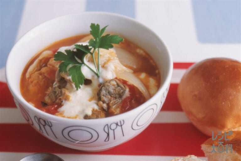 あさりとキャベツのトマトスープ