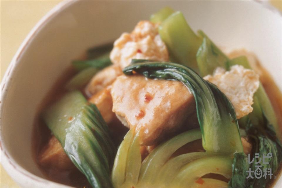 チンゲン菜と厚揚げのピリ辛煮(チンゲン菜+厚揚げを使ったレシピ)