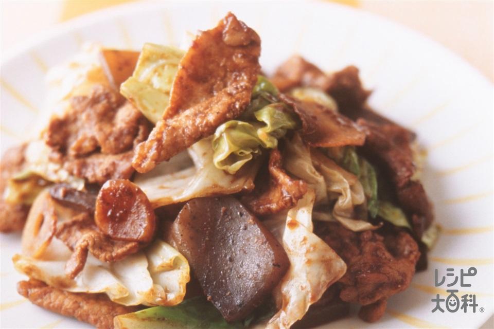 豚肉とキャベツとこんにゃくのみそ炒め