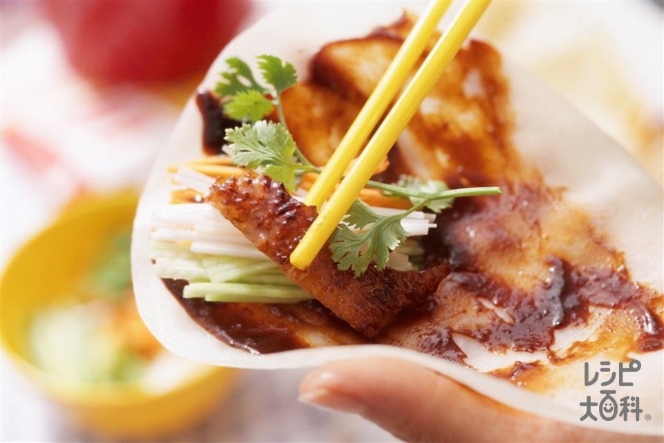 鶏肉のペキンダック風(鶏むね肉+A酒を使ったレシピ)