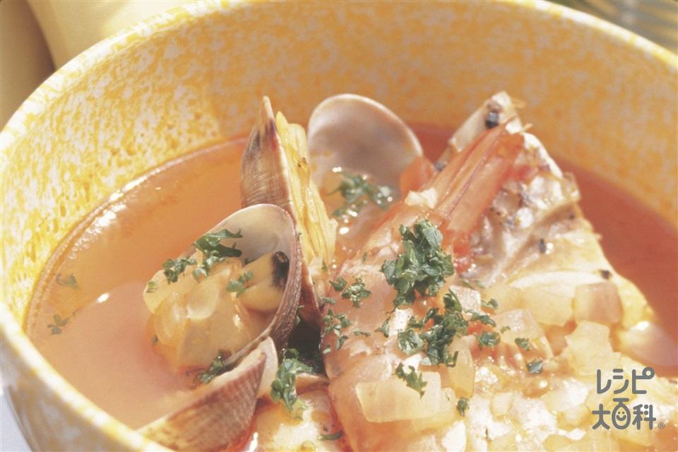 魚介のブイヤベース風(たら+あさり(殻つき)を使ったレシピ)