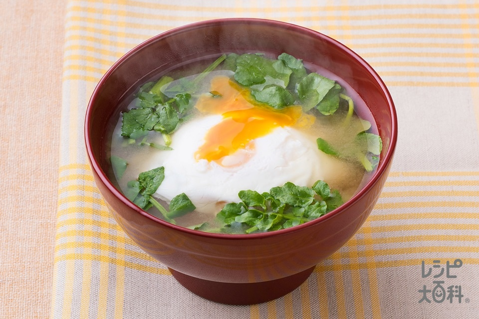 クレソンと落とし卵のみそ汁(卵+クレソンを使ったレシピ)