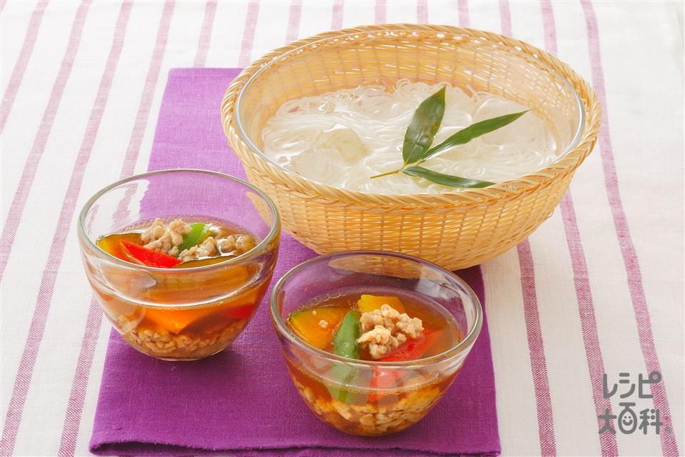 鶏ひき肉と野菜のつけそうめん(鶏ひき肉+かぼちゃを使ったレシピ)