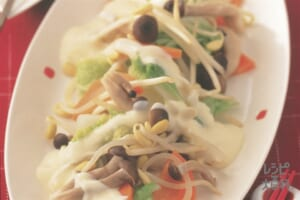 白菜と大豆もやしのレンジホットサラダ ゆずマヨネーズ