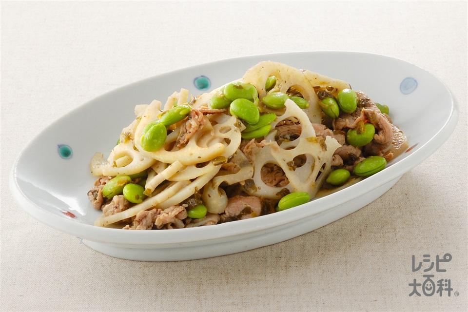 れんこんの高菜炒め(ゆで枝豆(さやから出したもの)+豚こま切れ肉を使ったレシピ)