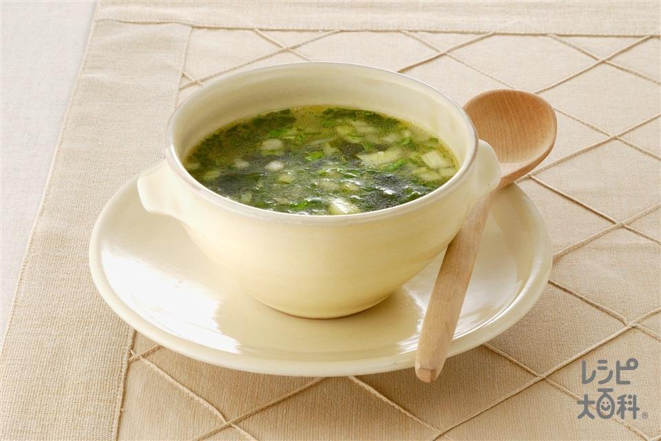 チンゲン菜のスープ(チンゲン菜+わかめを使ったレシピ)