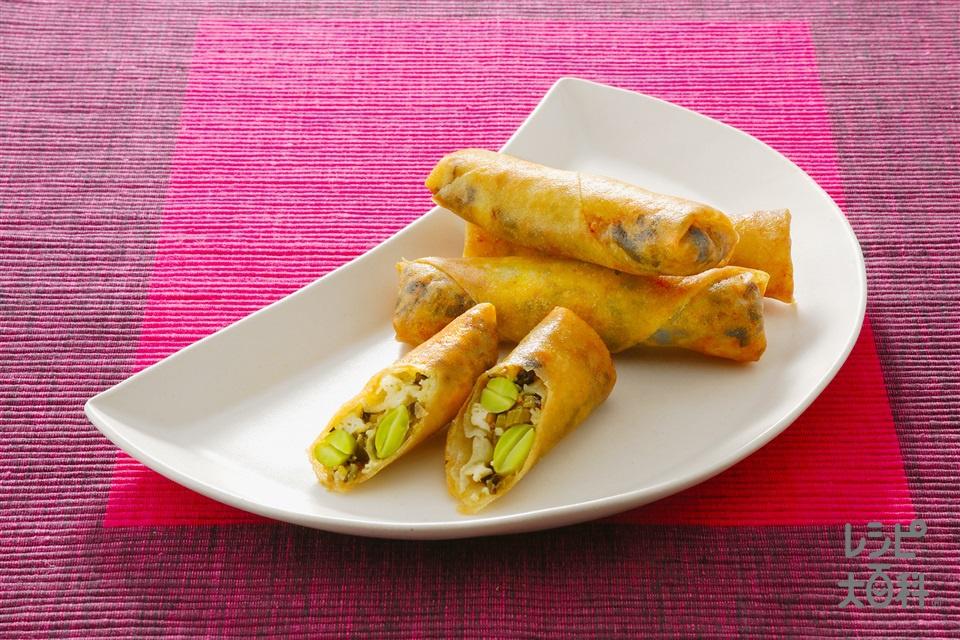 豆腐と高菜の簡単春巻(木綿豆腐+春巻の皮を使ったレシピ)