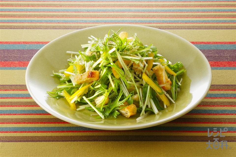 油揚げと水菜のサラダ (帆立貝柱の水煮缶+水菜を使ったレシピ)