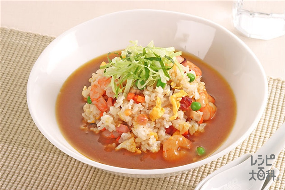 焼めしのカレースープかけ(ご飯+焼き豚を使ったレシピ)