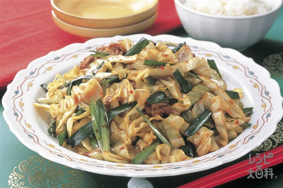 ニラブタ炒め(豚ロース薄切り肉+にらを使ったレシピ)