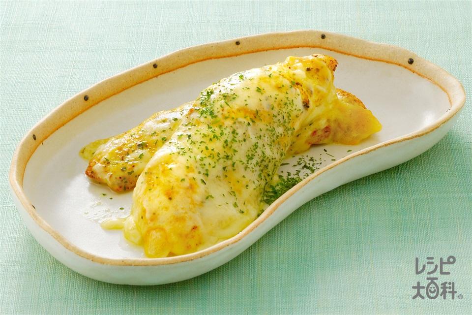 ささ身のカレーチーズ焼き(鶏ささ身+溶けるチーズを使ったレシピ)