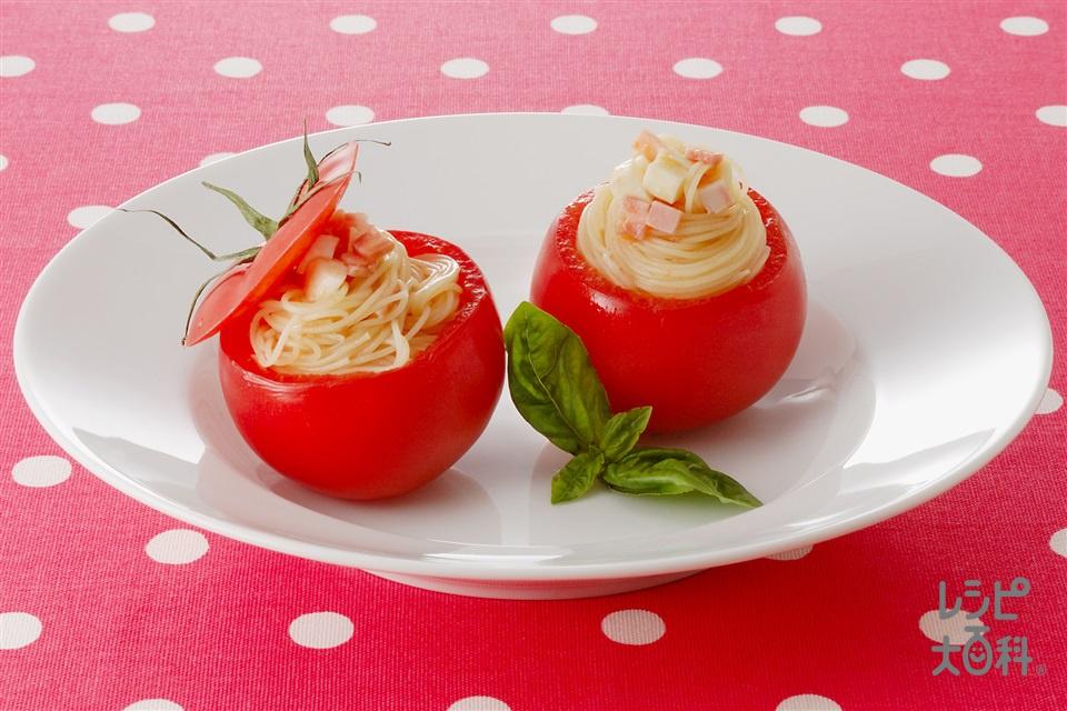 トマトカップの冷製パスタ