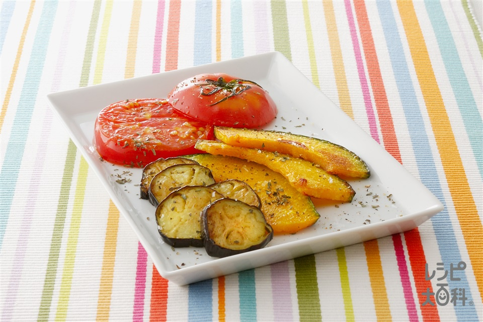 夏野菜の簡単グリル(トマト+かぼちゃを使ったレシピ)
