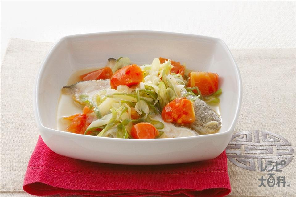 トマトと白身魚の蒸し煮(トマト+白身魚を使ったレシピ)