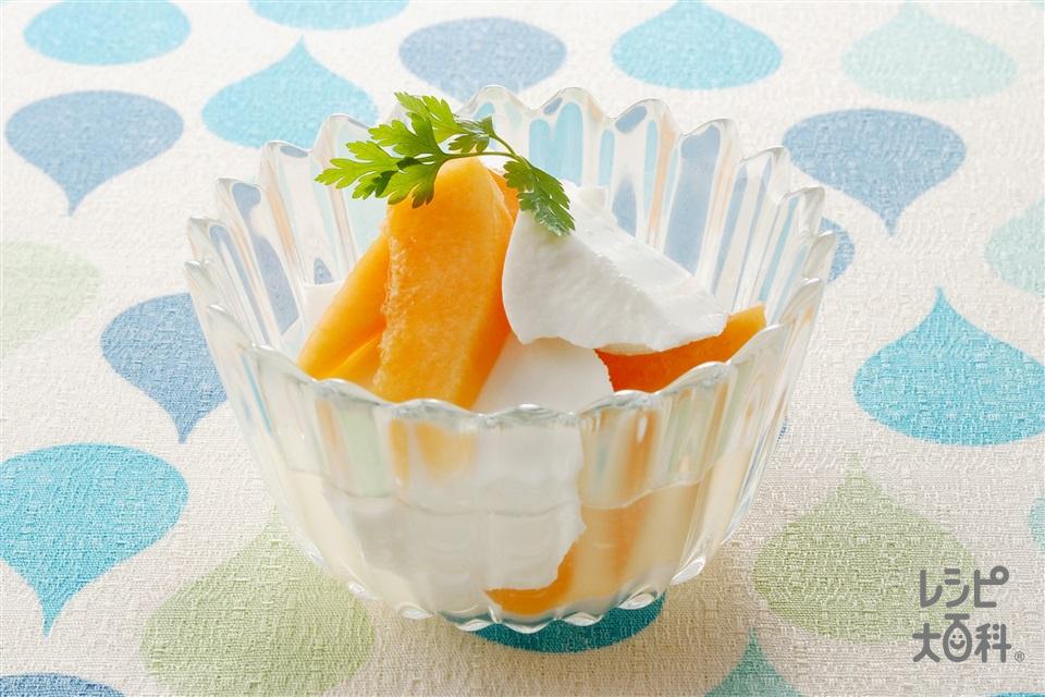 メロンとココナッツ豆腐(メロン+ココナッツミルクパウダーを使ったレシピ)