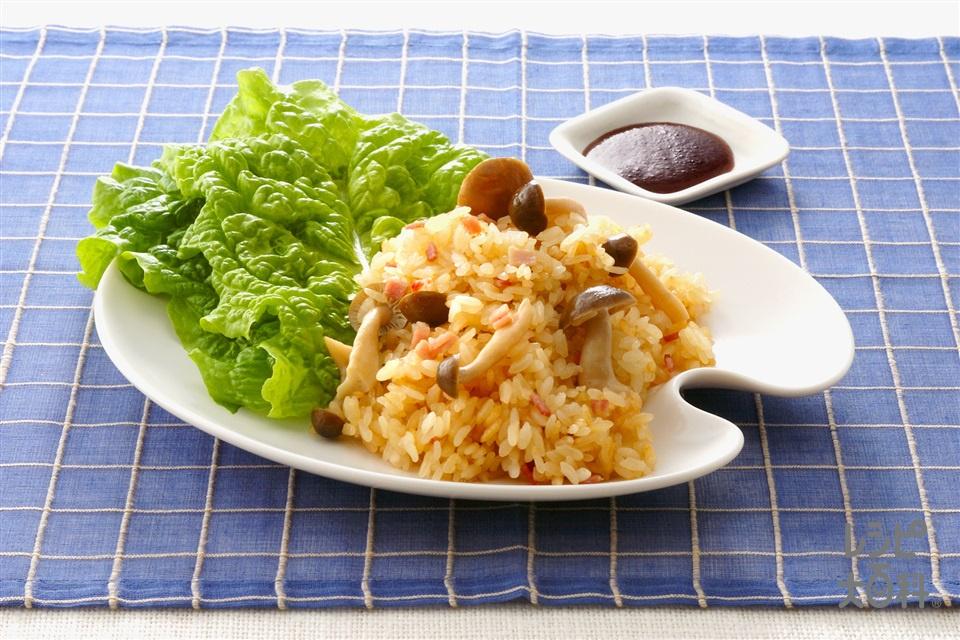 しめじとハムの炊き込ご飯のサラダロール(米+サラダ菜を使ったレシピ)